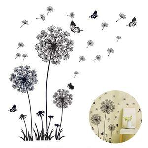 Wandtattoo Pusteblumen Schwarz 165X130 cm Fliegen im Wind Wandsticker Löwenzahn Blumen Wandsticker Pflanzen Aufkleber-Wand-Deko für Wohnzimmer Garderobe Flur Fenster