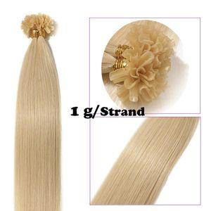 S-noilite Extensions Echthaar Bondings Keratin U-Tip Remy Human Hair Haarverlängerung 50 Strähnen Hellblond 60 cm