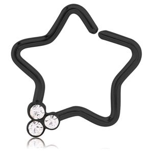 viva-adorno Knorpel Piercing Stern Kristall Ohrpiercing Helix Cartilage Tragus 316L Chirurgenstahl verschiedene Farben Z490,Stern 3x schwarz / klar