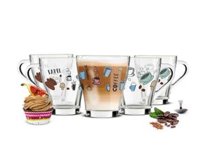 6 Cappuccino Kaffeegläser Teegläser 270ml Henkel und 6 Edelstahl-Löffel GRATIS mit buntem Kaffee-Aufdruck