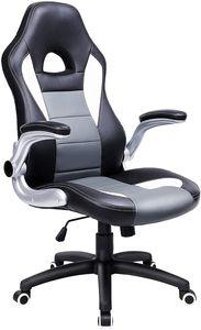 Gamingstuhl, Racing Chair, Schreibtischstuhl mit hoher Rückenlehne, Bürostuhl, höhenverstellbar, hochklappbare Armlehnen, Wippfunktion, für Gamer, schwarz-grau-weiß