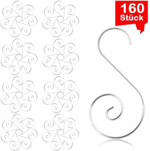 160 Weihnachtskugel Haken, Kugelaufhänger Silber, Haken Weihnachtskugel, Haken Weihnachtsschmuck Silber, S Haken, Baumhaken Silber, Schnellaufhänger für Weihnachtskugel Silber