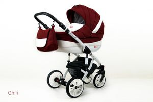 Kinderwagen Lilly, 3 in 1 -Set Wanne Buggy Babyschale Autositz Chili