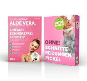 200g Capillum AMOVE Aloe Vera (Geruchlos) Premium Intim & Körper Enthaarungscreme als Pulver ohne Schmerzen und Reizungen für glatte Haut