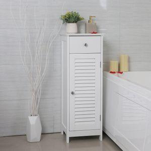 VASAGLE Hochschrank weiß Holz 87cm mit Schublade Badschrank Sideboard mit Lamellentür Badkommode Badezimmerschrank Beistellschrank BBC43WT