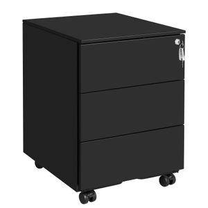 SONGMICS Stahl Rollcontainer mit 3 Schubladen| mobiler Aktenschrank | 55 x 45 x 39 cm abschließbar vormontiert mattschwarz OFC63BK