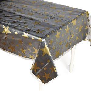 Silvester Tischdecke transparent mit goldenen Sternen
