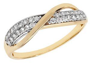 Moderner 9 Karat (375) Gold Damen - Ring mit Zirkonia, 59 (18.8); WJS11274