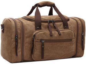 Vintage Canvas Reisetasche Sporttasche weekender Tasche für Damen und Herren mit der Großen Kapazität (Kaffe)