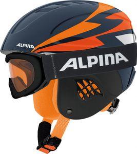 Alpina CARAT Set Kinderskihelmset schwarz-orange 54