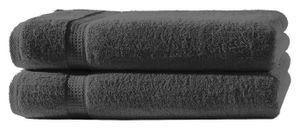2 Badetücher anthrazit grau 100x150 cm Set Baumwolle Frottee Badetuch groß XXL