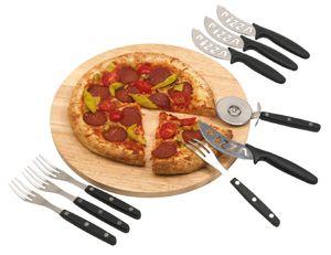 Pizzabrett Rund mit Pizzaschneider und Besteck für 4 Personen Pizzabesteck