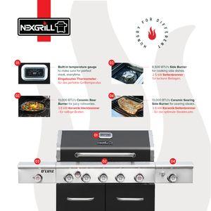 Nexgrill 5B Deluxe Gasgrill I 5 Brenner Gas Grill mit Kochplatte, Heckbrenner & Infrarot Seitenbrenner I Grillwagen mit Grillthermometer und Pro Touch Grillroste