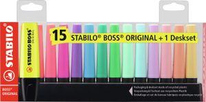 STABILO Textmarker BOSS ORIGINAL 15er Tischset