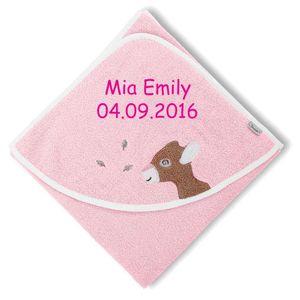 Sterntaler Kapuzenhandtuch Rosie mit Namen bestickt 80x80 cm Handtuch Baby Geschenk zur Geburt Badehandtuch