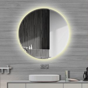 LED Rund Badspiegel  Anti-Fog Badspiegel Wandspiegel Badspiegel  Abgeschrägte 60*60cm (Warmweiß)