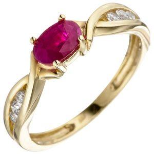 JOBO Damen Ring 58mm 333 Gold Gelbgold 1 Rubin rot 6 Zirkonia Goldring Rubinring
