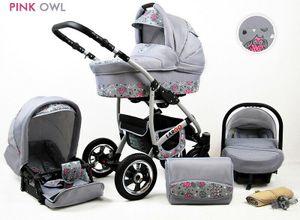 Kinderwagen Largo Alu,3 in 1 -Set Wanne Buggy Babyschale Autositz mit Zubehör Pink Owl