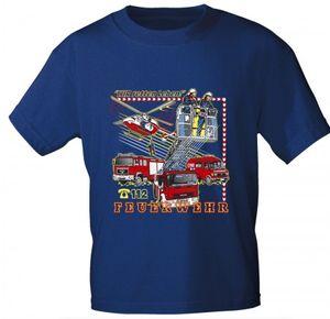 Kinder T-Shirt mit Print - Wir retten Leben - Feuerwehr 112 - 06964 - royalblau - Gr. 86-164 Größe - 134/146