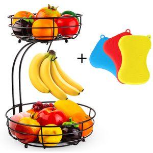 2-stufiger Obstkorb Bananenhalter, Obstschale Metall fš¹r mehr Platz auf der Arbeitsplatte, Etageren mit Obstschalen - dekorativer Obstkörbe (Bronze)