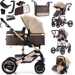 3in1 Kinderwagen Bambimo Kombikinderwagen 15-Teile Set in Braun Gold incl. Babywanne & Buggy & Auto-Babyschale & Alu-Gestell & Gummireifen & mehr