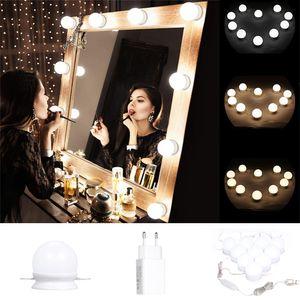 10Pcs Schminkspiegel beleuchtet Hollywood Stil LED Dimmbare Lampe mit EU-Stecker