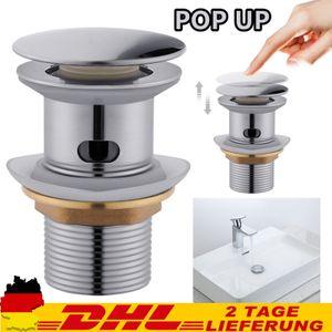 Waschbecken Ablaufgarnitur POP UP Ablaufventil mit überlauf für Waschtisch Chrom Ablaufgarnitur Abfluss Ablauf Ventil Waschbecken Stöpsel Waschtisch