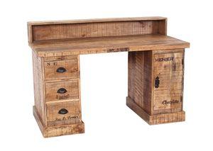 SIT Möbel Schreibtisch | 3 Schubladen, 1 Tür | Mangoholz lackiert natur antik | Beschläge antikschwarz | B 132 x T 65 x H 90 cm | 01901-04 | Serie RUSTIC