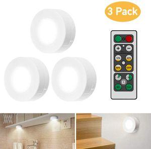 Schrankleuchten LED mit Fernbedienung,3 Stück Schrankbeleuchtung für Schlafzimmer,Kleiderschrank,Kabinett,Küche - Weiß