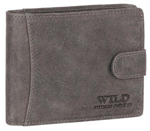 RFID echt Leder Portemonnaie Geldbörse Riegelbörsel Herren  Querformat Grau