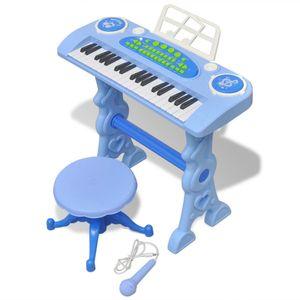 dereoir Kinder Keyboard Spielzeug Piano mit Hocker/Mikrofon 37 Tasten Blau