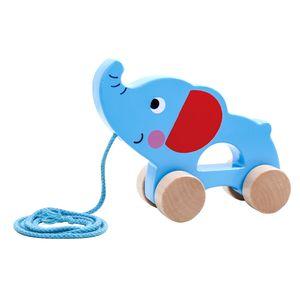 Tooky Toy Holz-Spielzeug Niedlicher Elefant zum Hinterherziehen ab 3 Jahren ca.