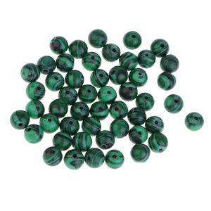 50 Stück 8mm Grün Natürlichen Malachit Perlen Schmucksteine Steinperlen Heilsteine Schmuckperle für Armband Halskette