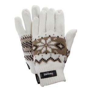 FLOSO Damen Thermo Strick-Handschuhe mit Norweger-Muster GL519 (Einheitsgröße) (Weiß)