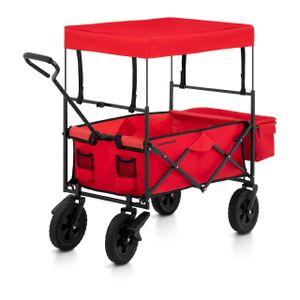 Uniprodo Bollerwagen faltbar mit Dach - Rot - mit Bremsen