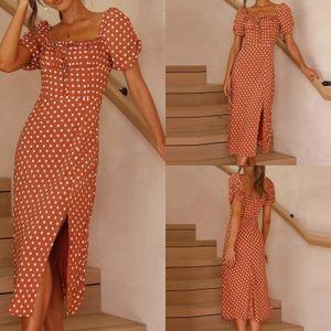 Frauen Square Neck Kurzarm Polka Dot Kleid Printed Slim Slit Dress Größe:L,Farbe:Rot
