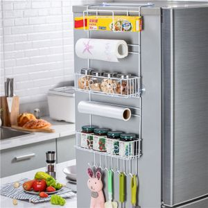 MECO Hängeregal für Kühlschrank Saugnapf Haken Türregal Küchenregal Küchenpapier Handtuch Wandregal Gewürzregale