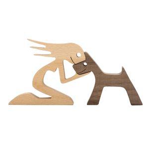 Hand Geschnitzt Hund Menschliche Statue Hund Tiere Figuren Büro Zimmer Kunst Dekoration Nordic Wohnkultur Skulptur Kollektiven Handwerk Holz 24,5 x 12 x 1,2 cm Handgeschnitzte Statue