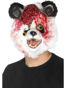 Kostüm Zubehör Maske Zombie Panda Bär schwarz-weiß Halloween