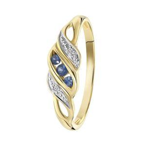 Ring, 585 Gelbgold, mit Saphir und Diamant 0,01 kt