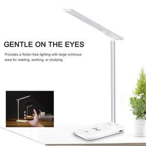 LED-Schreibtischlampe, augenpflegende Tischlampe, dimmbare Buerolampe Nachttischlampe
