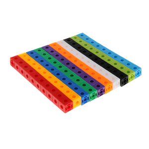 100 Stücke Bunte Steckwürfel Würfel Baustein Mathe Lernspielzeug für Kinder,