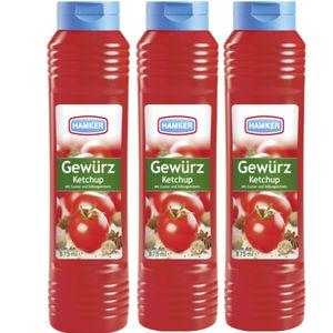 Hamker Pikanter Gewürz Ketchup Perfekt für Grillfleisch 875ml 3er Pack