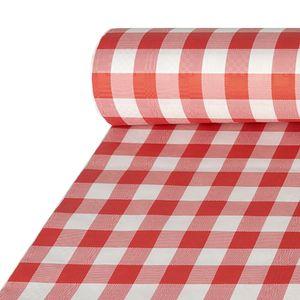 5 Papiertischtuch mit Damastprägung 50 m x 1 m rot  Vichy Karo