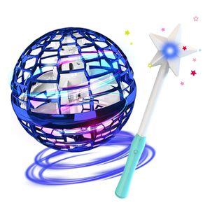 Flynova Pro Flying Ball Bumerang Spinner Dynamische RGB-Lichter mit Magic Stick Control (Blauer Ball + Magic Stick)Bumerang