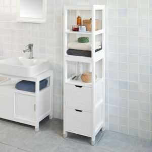 SoBuy® Badezimmer-Hochschrank, Bad, Badregal, Badmöbel, FRG126-W