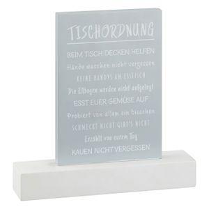 Tischordnung Tischregeln Grau Weiss 25 cm Tischdeko