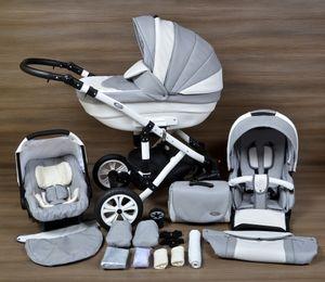 LUXUS Kombi Kinderwagen ALU  3in1 Babyschale Autositz Babywanne Sportsitz(10,Lufträder weiss,weiss)