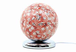 Formano Mosaik-Kugel 25 cm lachs Glas Kugelleuchte mit Touchfunktion