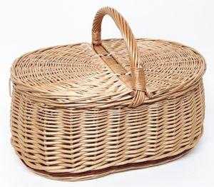 Picknickkorb mit zwei Deckel aus Weide (46 x 31 cm - 2F)